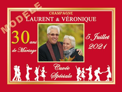 etiquette de champagne personnalisable pour anniversaire de mariage ani 01
