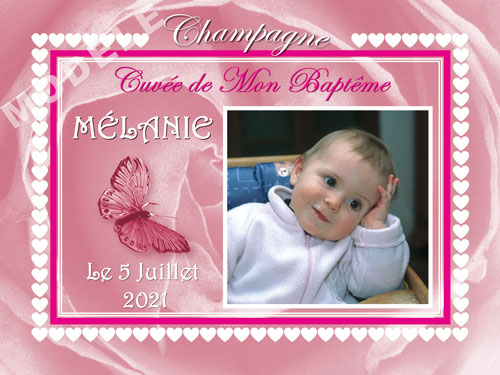 etiquette de champagne personnalisable pour baptême eba 01