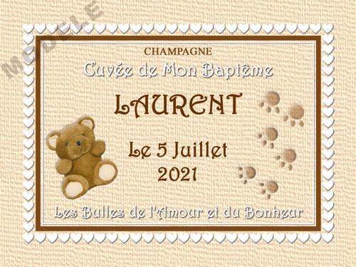 etiquette de champagne personnalisable pour baptême eba 02