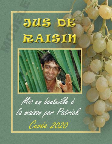 étiquette personnalisée pour bouteille de jus de raisin evj 03