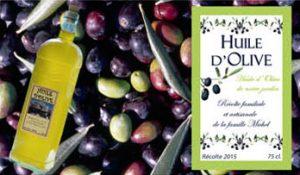 étiquette personnalisée pour bouteille d'huile d'olive
