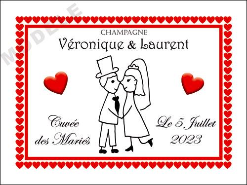etiquette de champagne personnalisable pour mariage aema50