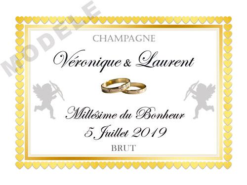 etiquette de champagne personnalisable pour mariage aema63