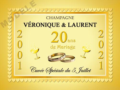 etiquette de champagne personnalisable pour anniversaire de mariage ani 03