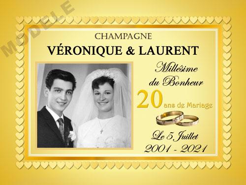 etiquette de champagne personnalisable pour anniversaire de mariage ani 04