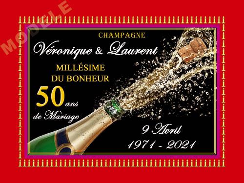 etiquette de champagne personnalisable pour anniversaire de mariage ani 05