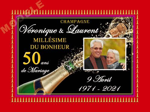 etiquette de champagne personnalisable pour anniversaire de mariage ani 06