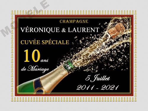 etiquette de champagne personnalisable pour anniversaire de mariage ani 07