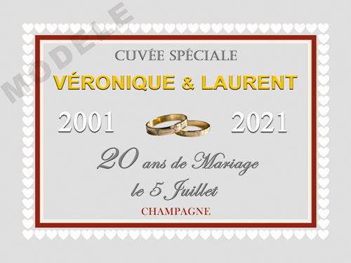 etiquette de champagne personnalisable pour anniversaire de mariage ani 08