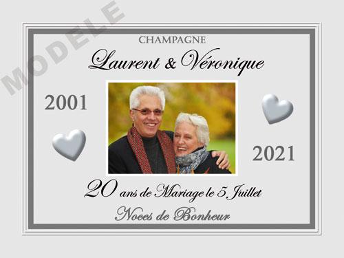 etiquette de champagne personnalisable pour anniversaire de mariage ani 09
