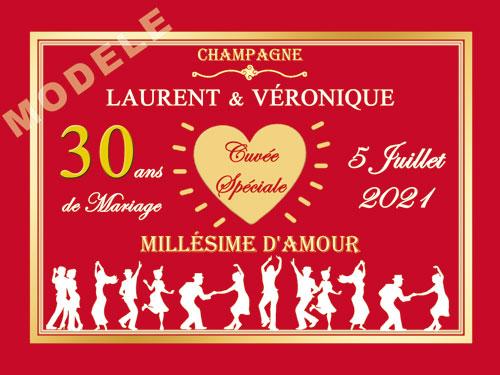 etiquette de champagne personnalisable pour anniversaire de mariage ani 12