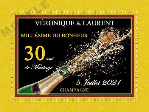 etiquette de champagne personnalisable pour anniversaire de mariage ani 13