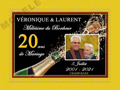 etiquette de champagne personnalisable pour anniversaire de mariage ani 14