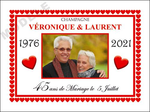 etiquette de champagne personnalisable pour anniversaire de mariage ani 15