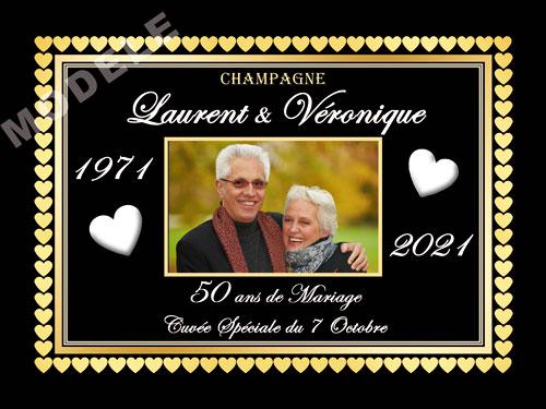 etiquette de champagne personnalisable pour anniversaire de mariage ani 18