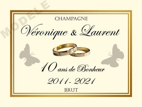 etiquette personnalisée anniversaire de mariage pour bouteille de champagne ani 22