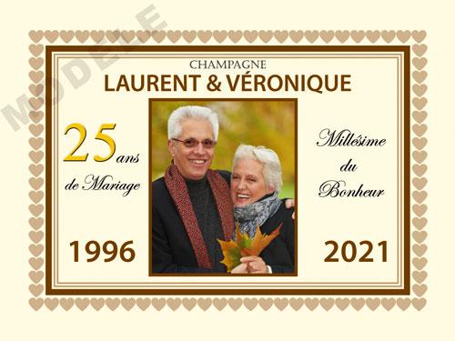 etiquette personnalisée anniversaire de mariage pour bouteille de champagne ani 23