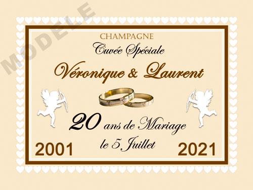 etiquette personnalisée anniversaire de mariage pour bouteille de champagne ani 24