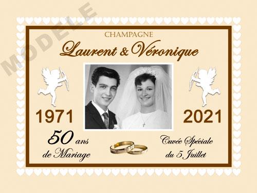 etiquette personnalisée anniversaire de mariage pour bouteille de champagne ani 25