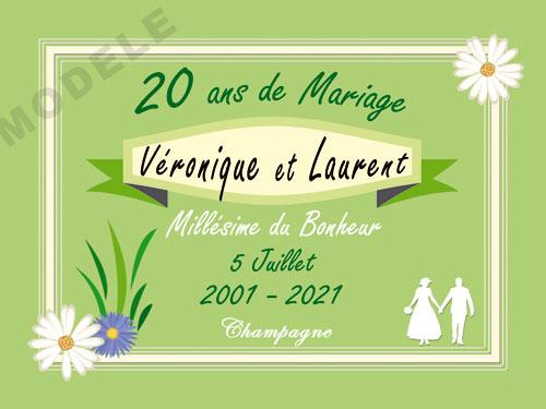 etiquette personnalisée anniversaire de mariage pour bouteille de champagne ani 26