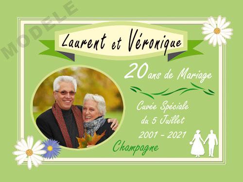 etiquette personnalisée anniversaire de mariage pour bouteille de champagne ani 27
