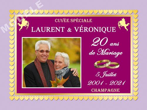 etiquette personnalisée anniversaire de mariage pour bouteille de champagne ani 29