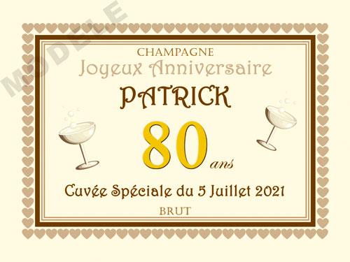 etiquette personnalisée anniversaire pour bouteille de champagne can 22