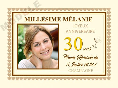 etiquette personnalisée anniversaire pour bouteille de champagne can 23