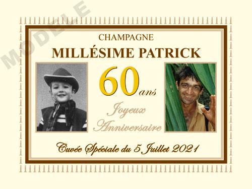 etiquette personnalisée anniversaire pour bouteille de champagne can 24