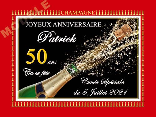 etiquette anniversaire pour bouteille de champagne can 48