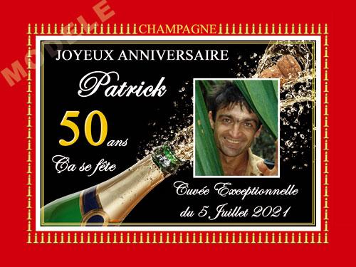 etiquette anniversaire pour bouteille de champagne can 49