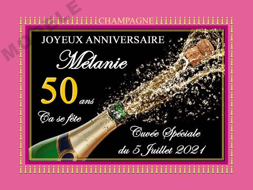 etiquette anniversaire pour bouteille de champagne can 50