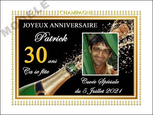 etiquette anniversaire pour bouteille de champagne can 54