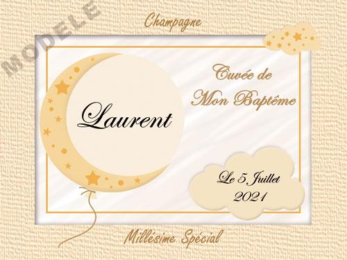 etiquette de champagne personnalisable pour baptême eba 03
