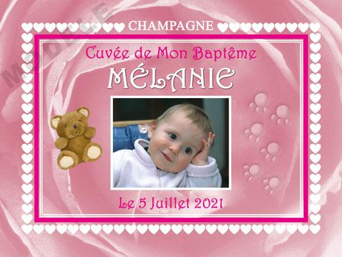 etiquette de champagne personnalisable pour baptême eba 07