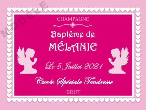 etiquette de champagne personnalisable pour baptême eba 15