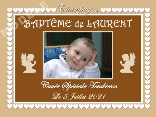 etiquette de champagne personnalisable pour baptême eba 16