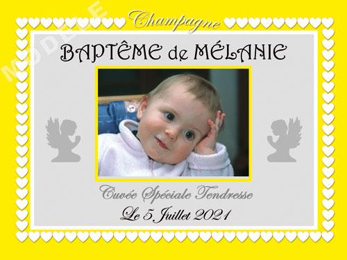 etiquette de champagne personnalisable pour baptême eba 17