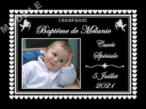 etiquette personnalisée baptême pour bouteille de champagne eba 23
