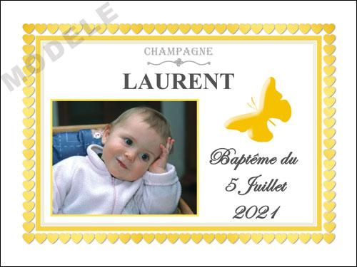 etiquette personnalisée baptême pour bouteille de champagne eba 25