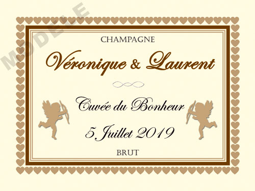 etiquette personnalisée mariage pour bouteille de champagne ema 23