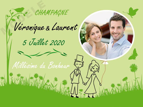 etiquette personnalisée mariage pour bouteille de champagne ema 29
