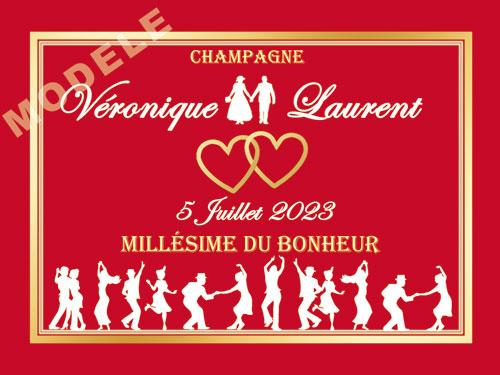 etiquette de mariage pour bouteille de champagne ema 40