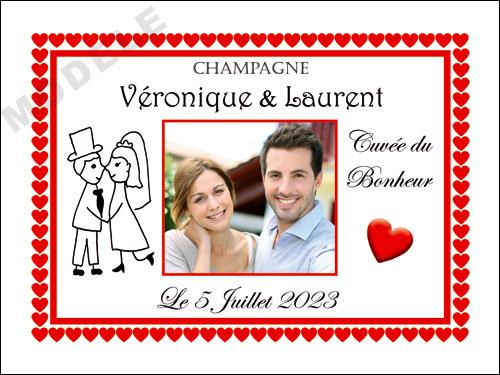 etiquette de mariage pour bouteille de champagne ema 49