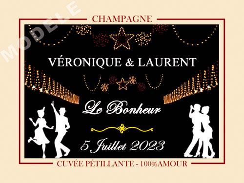 etiquette de mariage pour bouteille de champagne ema 50