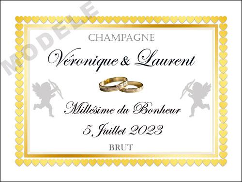 etiquette de mariage pour bouteille de champagne ema 51