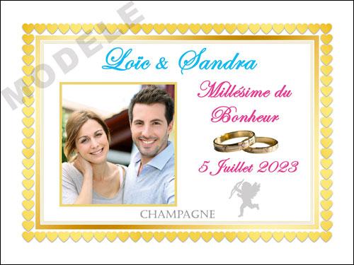 etiquette de mariage pour bouteille de champagne ema 55
