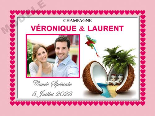 etiquette de mariage pour bouteille de champagne ema 58