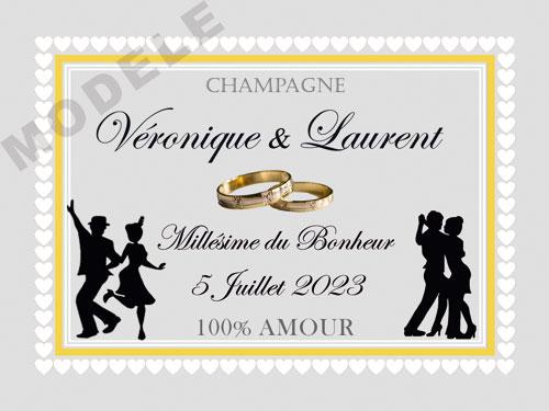 etiquette de mariage pour bouteille de champagne ema 60