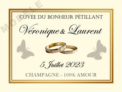 etiquette de mariage pour bouteille de champagne ema 63